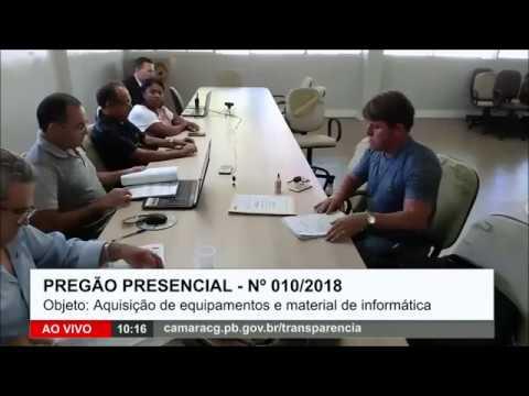 13/06/18 – PREGÃO PRESENCIAL – Nº 010/2018 –  Câmara Municipal de Campina Grande